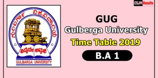 Gulberga University [GUG] B.A 1 Time Table 2019