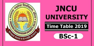 JNCU University BSc 1 Time Table 2019
