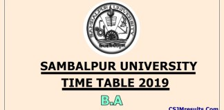Sambalpur University Time Table 2019 B.Sc