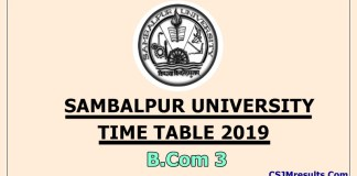 Sambalpur University Time Table 2019 B.Com 3