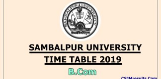Sambalpur University Time Table 2019 B.Com