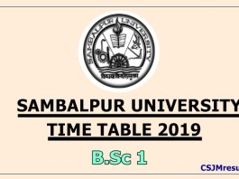 Sambalpur University Time Table 2019 B.Sc 1