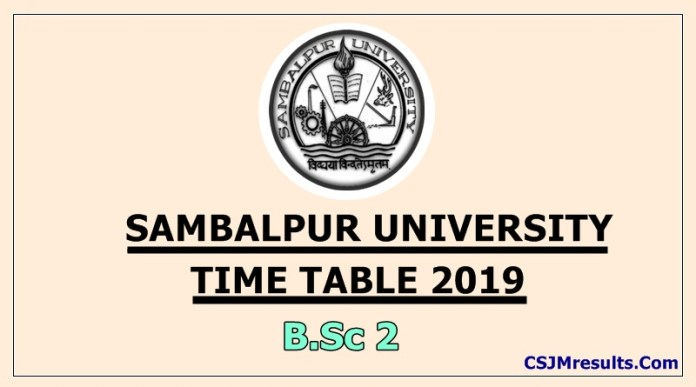 Sambalpur University Time Table 2019 B.Sc 2