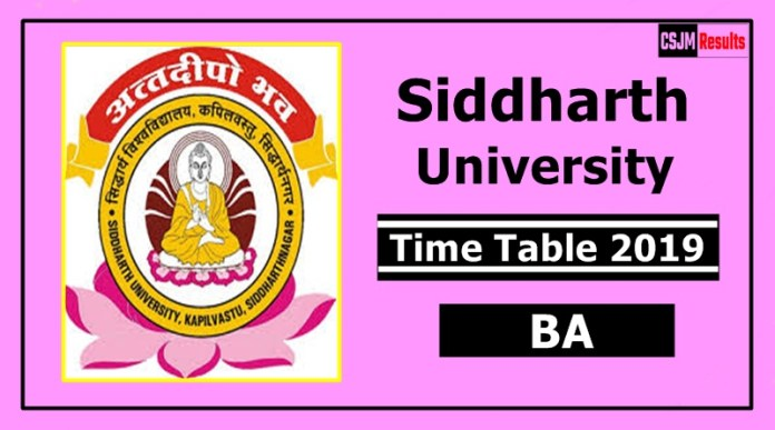 Siddharth University BA 1 2 3 Year Time Table 2019
