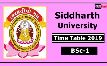 Siddharth University BSc 1 Year Time Table 2019