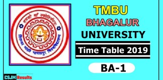 TMBU Bhagalpur University BA 1 Year Time Table 2019