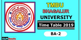TMBU Bhagalpur University BA 2 Year Time Table 2019