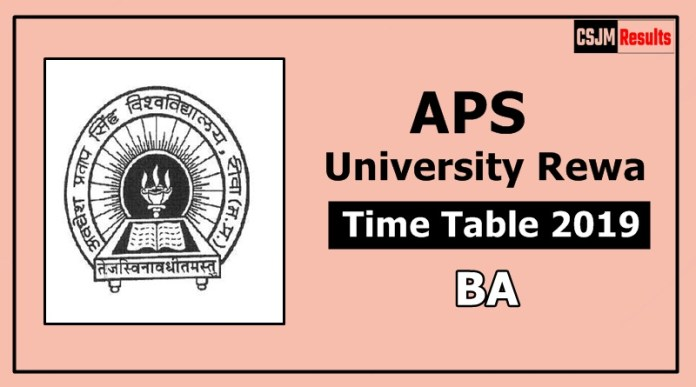 APS University Rewa BA 1 2 3 Year Time Table Exam Date Sheet 2019