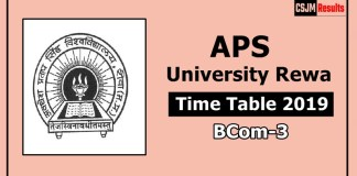 APS University Rewa BCom 3 Year Time Table Exam Date Sheet 2019