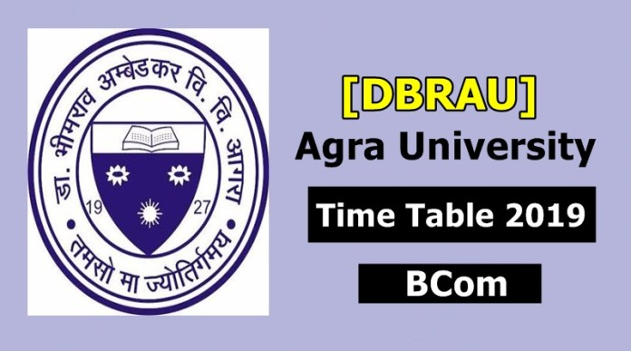 Agra University [DBRAU] BCom 1 2 3 Year Scheme Time Table 2019