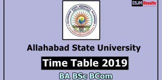 Allahabad State University Time Table 2019 BA BSc BCom