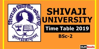 Shivaji University BSc 2 Year Time Table 2019  Part 2