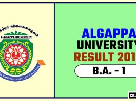 Algappa University BA 1st Year Result 2019