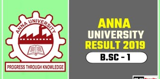 Anna University BSc 1st Year Result 2019