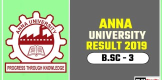 Anna University BSc 3rd Year Result 2019