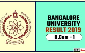 Banglore University BCom 1st Year Result 2019