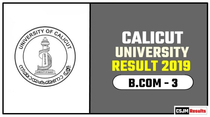 Calicut University BCOM 3rd Year Result 2019