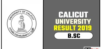 Calicut University BSC 1st 2nd 3rd Year Result 2019
