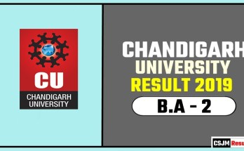 Chandigarh University [CU] BA 2nd Year Result 2019