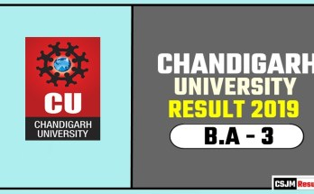 Chandigarh University [CU] BA 3rd Year Result 2019