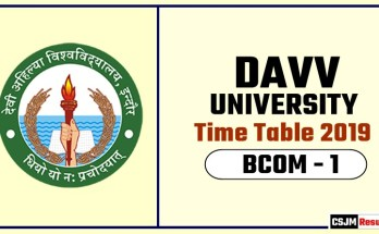 DAVV BCOM 1 Year Time Table 2019  Devi Ahilya University Date Sheet