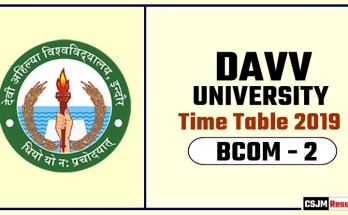 DAVV BCOM 2 Year Time Table 2019  Devi Ahilya University Date Sheet