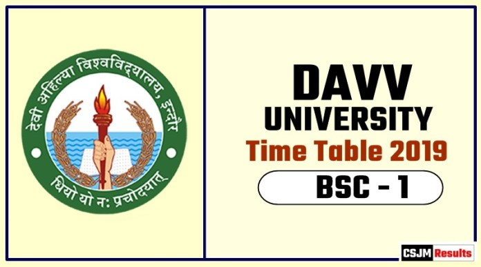 DAVV BSC 1 Year Time Table 2019 Devi Ahilya University Date Sheet
