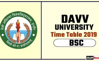 DAVV BSC 1st BSC 2nd Year Time Table 2019