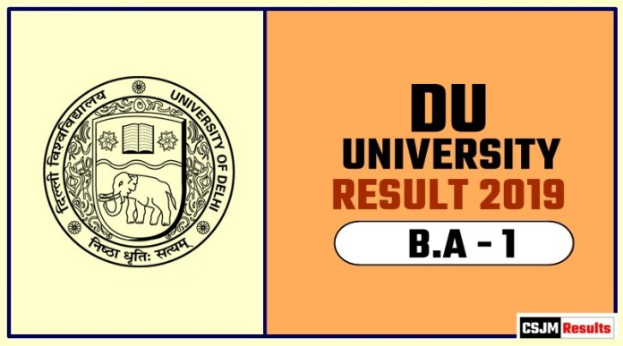 DU BA 1st Year Result 2019 Delhi University