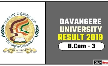 Davangere University BCom 3rd Year Result 2019