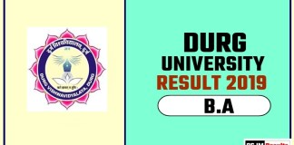 Durg University BA 1st 2nd 3rd Year Result 2019