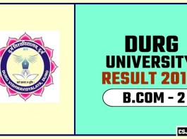 Durg University BCOM 2nd Year Result 2019