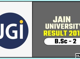 Jain University BSc 2nd Year Result 2019