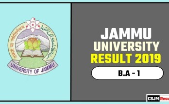 Jammu University BA 1st Year Result 2019