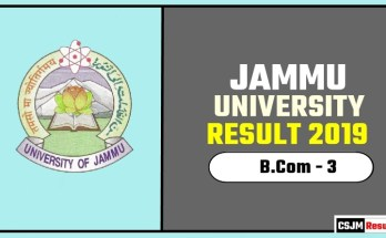 Jammu University BCOM 3rd Year Result 2019
