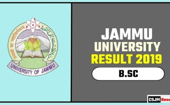 Jammu University BSC 1st 2nd 3rd Year Result 2019