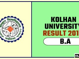 Kolhan University BA 1st 2nd 3rd Year Result 2019