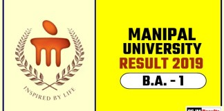 Manipal University BA 1st Year Result 2019