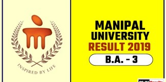 Manipal University BA 3rd Year Result 2019