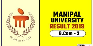 Manipal University BCom 2nd Year Result 2019