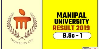 Manipal University BSc 1st Year Result 2019