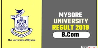Mysore University BCom 1st 2nd 3rd Year Result 2019