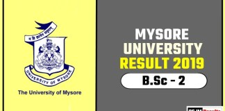 Mysore University BSc 2nd Year Result 2019