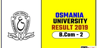 Osmania University BCom 2nd Year Result 2019