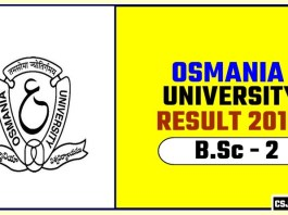 Osmania University BSc 2nd Year Result 2019