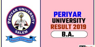 Periyar University BA 1st 2nd 3rd Year Result 2019