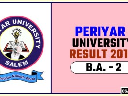Periyar University BA 2nd Year Result 2019