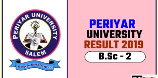 Periyar University BSc 2nd Year Result 2019
