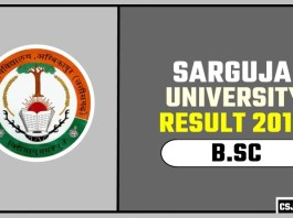 Sarguja University BSC 1st 2nd 3rd Year Result 2019