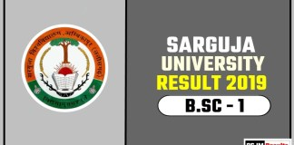 Sarguja University BSC 1st Year Result 2019